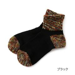 THE.GALLERY.SOCKS カラーブークレ クルー丈ソックス/ブラック/23-25cm