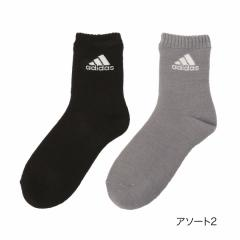 adidas(アディダス)レディース 総パイル 裏起毛 ロゴ クルー丈ソックス/アソート2/23-25cm