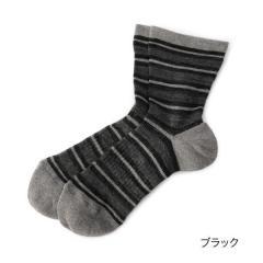 ふくらし ゆるピ丈 ウォーキング ボーダー ソックス/ブラック/22-24cm