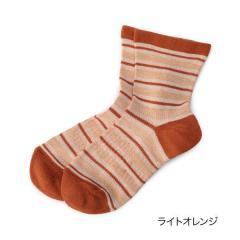 ふくらし ゆるピ丈 ウォーキング ボーダー ソックス/ライトオレンジ/22-24cm