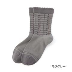 ふくらし ゆるピ丈 保湿加工 小花柄 ソックス/モクグレー/22-24cm