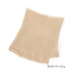fukuske 表糸シルク100% 5本指 つま先なしソックス/ライトベージュ/22-24cm
