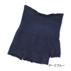 fukuske 表糸シルク100% 5本指 つま先なしソックス/ダークブルー/22-24cm