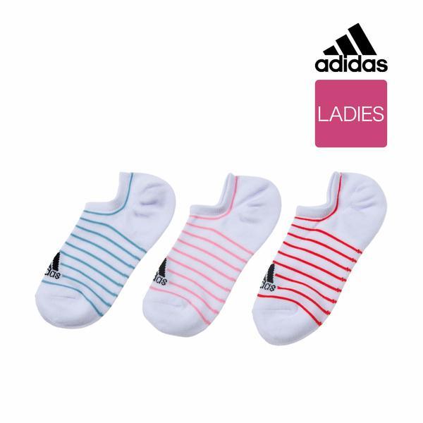 6b2ef7bbb8a6e LOHACO - レディース adidas(アディダス) 3足組 ボーダーロゴ 靴から見え ...