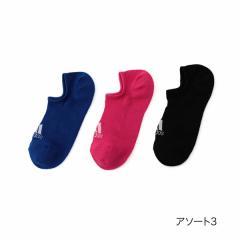 adidas(アディダス) 3足組 甲ロゴ 甲メッシュ スニーカー丈 ソックス/アソート3/23-25cm