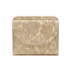 アルカン 財布 Arukan クレア 二つ折り財布 小銭入れあり コンパクト 本革 レザー 型押し 花柄 レディース 日本製 1411-674 ベージュ(11)