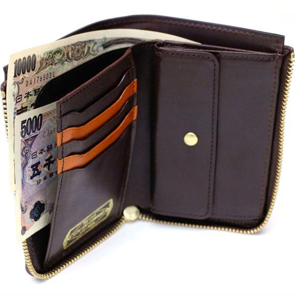 SLOW スロウ 二つ折り財布 ダブルオイル Double Oil 財布 L字ファスナー 333S47E チョコ(23)