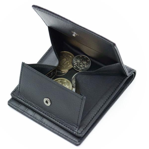 Neu interesse ノイインテレッセ 財布 二つ折り財布 メンズ ハイブリッドレザー 革 Schatten シャッテン 3873 ブラックxネイビー