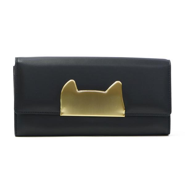 on sale ff523 957c4 ツモリチサト 財布 tsumori chisato CARRY 長財布 二つ折り ネコフレーム 小銭入れあり レディース ブランド ネコ かわいい 革  57394 ブラック