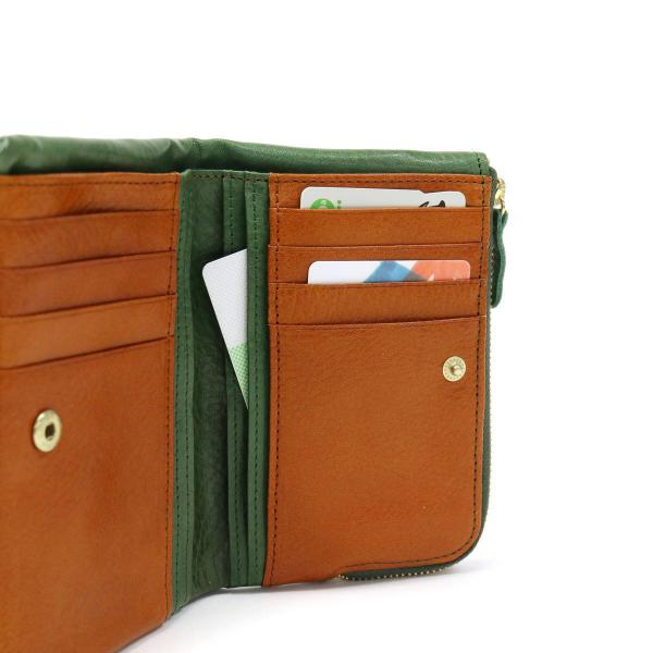 クレドラン CLEDRAN 二つ折り財布 FINI フィニ レディース CL-2087【送料無料】 9/4 グリーン×キャメル(83-1638)