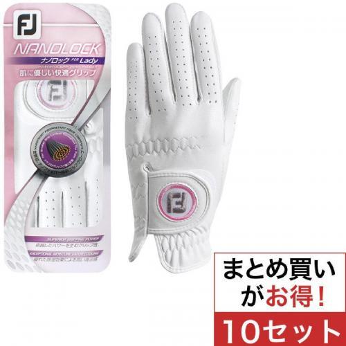 フットジョイ Foot Joy 14 ナノロックテックグローブ 両手用 FGNLPR4 10セット 18cm 両手用 ホワイト レディス