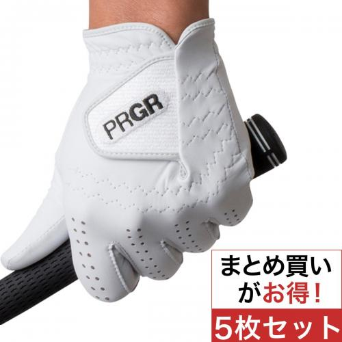 プロギア PRGR グローブ PG-116PRO 5枚セット 25cm 左手着用(右利き用) ホワイト