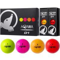 本間ゴルフ HONMA D1 ボール 1ダース(12個入り) マルチ4色入り(レッド/ピンク/オレンジ/イエロー)