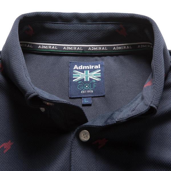 アドミラル Admiral 総柄千鳥ランパント 長袖ポロシャツ ADMA7T6