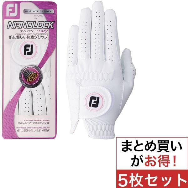 フットジョイ Foot Joy ナノロックレディグローブ 5枚セット 20cm 左手着用(右利き用) ホワイト/ピンク レディス