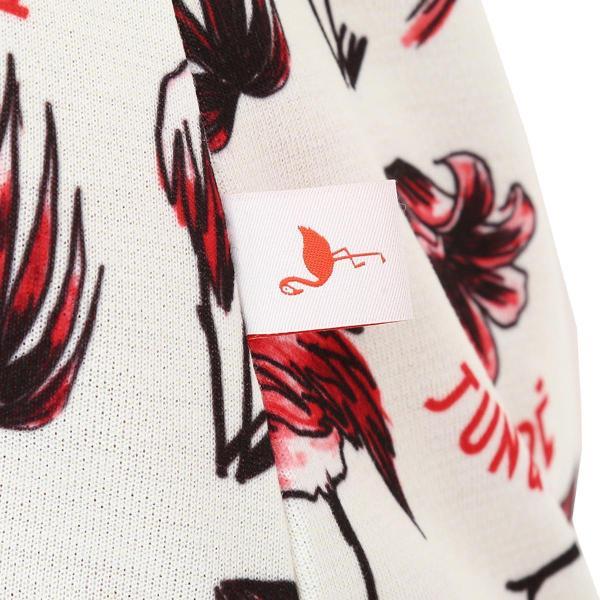 ジュン アンド ロペ JUN & ROPEフラミンゴ柄プリント 半袖ポロシャツ レディス