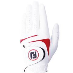 フットジョイ Foot Joyウェザーソフ グローブ 21cm 左手着用(右利き用) ホワイト/レッド