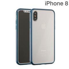 [iPhone X専用]サイドカラードクリアハイブリッドケース(ネイビー)