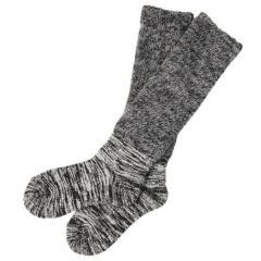 冷え取り靴下 日本製 内絹外綿 2重編み 靴下 ロング丈<ハイソックス> 杢チャコール