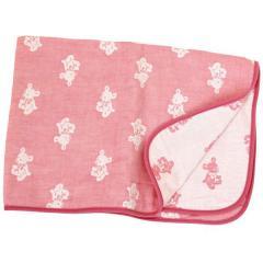 ガーゼケット ベビーケット クォーターサイズ 4重ガーゼ クマ柄 日本製 ピンク