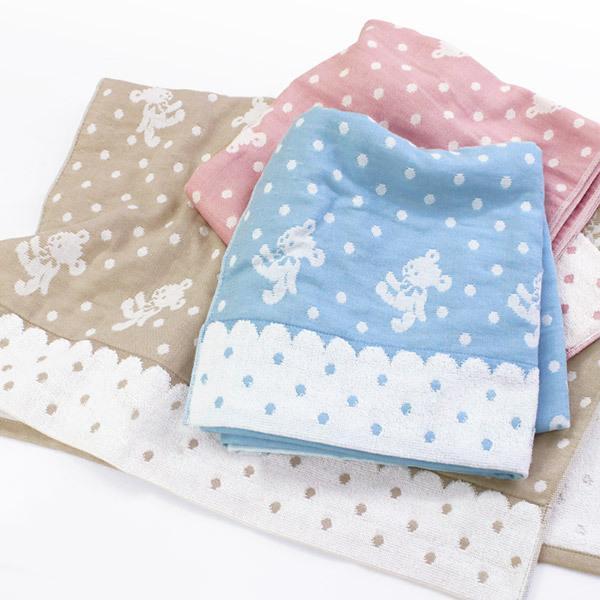 今治タオル バスタオル ガーゼタオル 同色2枚セット シロクマ 水玉 日本製 モスピンク2枚
