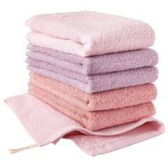 <6枚セット>日本製 ホテルスタイルタオル ハンドタオル ピンク系 6枚