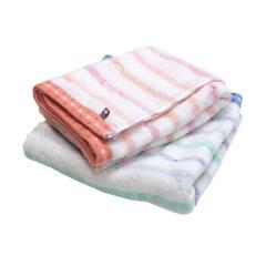 <2枚セット>日本製 今治タオル ボーダージャガード バスタオル<リリック> ピンク1枚+ブルー1枚