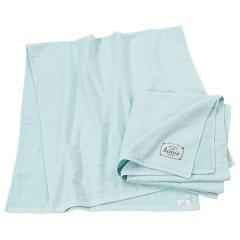 ガーゼタオル バスタオル 約63cm×124cm アイスブルー 無地 ロゴプリント 綿100% ナチュラル ヒオリエ 日織恵 日本製 国産 同色2枚セット 薄手 吸水 速乾 コンパクト