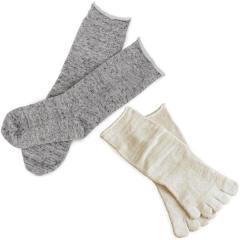 冷え取り靴下 Lサイズ 2足セット 冷えとり 靴下 内絹外綿 ソックス 日本製 杢グレイ
