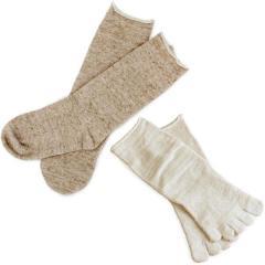 冷え取り靴下<同色2足×2組セット>日本製 冷えとり 靴下<Mサイズ>内絹外綿 ソックス 杢ベージュ