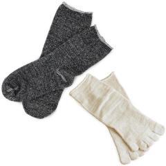 冷え取り靴下<同色2足×2組セット>日本製 冷えとり 靴下<Mサイズ>内絹外綿 ソックス 杢チャコール