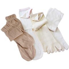 冷え取り靴下 <4足セット> 日本製 冷えとり シルク コットン 5本指 靴下【重ねばき専用 4足セット】 杢ベージュ
