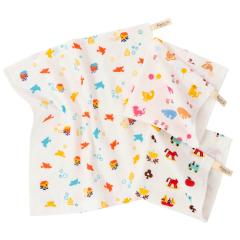 ハンドタオル ガーゼタオル 3枚セット リトルフレンド柄 日本製 福袋 全3柄セット