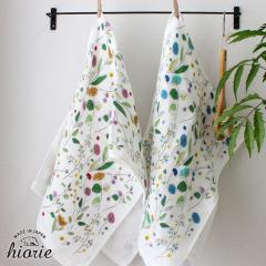 <2枚セット> 日本製 今治タオル 4重ガーゼ 花柄 フェイスタオル<プランタン> ピンク+ブルー