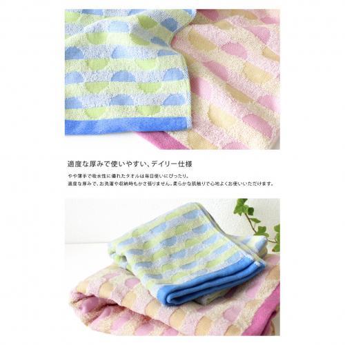 日本製 今治タオル 幾何ジャガード フェイスタオル<カリブ> ブルー