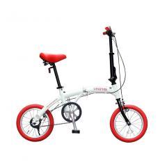 GRAPHIS(グラフィス) 折りたたみ自転車 14インチ ミニベロ 小径車 コンパクト GR-FD14 ホワイトレッド
