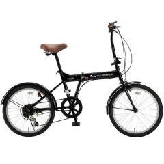 マイパラス 20インチ折りたたみ自転車 M-208 シマノ6段変速 ブラック