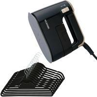 (送料無料)衣類用スチーマー(ブラックゴールド)+すべらないハンガー(ブラック)セット (1900453)アイリスオーヤマ