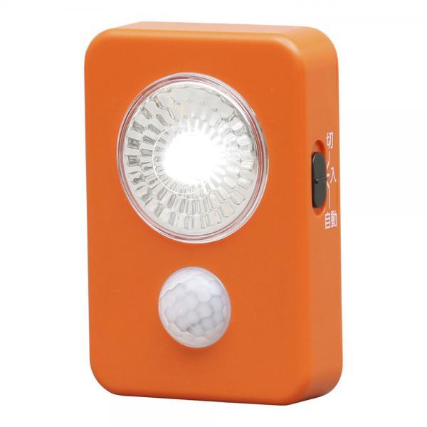 乾電池式LED屋内センサーライト ハンディタイプ LWM-40K オレンジ (248795) アイリスオーヤマ