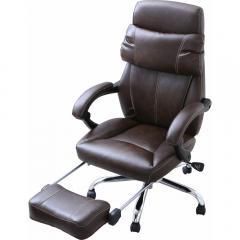 オフィスチェア 170°リクライニング 肘付・足置き付き ハイバック レザーブラウン (7090530) アイリスオーヤマ