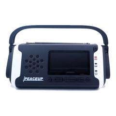 PEACEUP 防災ラジオ ライト ソーラー モバイルバッテリー 大容量4000mAh 防水 ホワイト