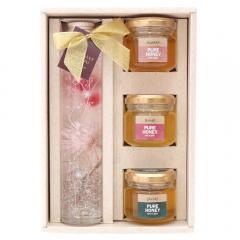 【新発売/クーポン利用で送料無料】蜂蜜(90g)3種&ハーバリウムボトル(ピンク)ギフトセット