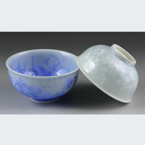清水焼 花結晶(青・白) 組飯椀