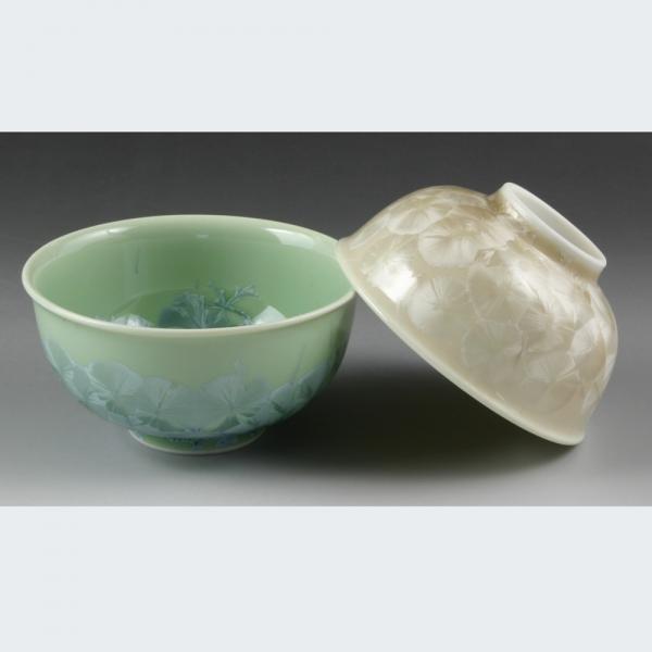 清水焼 花結晶(緑・茶) 組飯椀