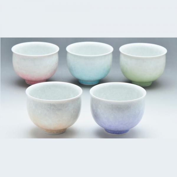 清水焼 五色花結晶 お茶呑茶碗