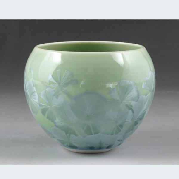 清水焼 花結晶(緑) お茶呑茶碗