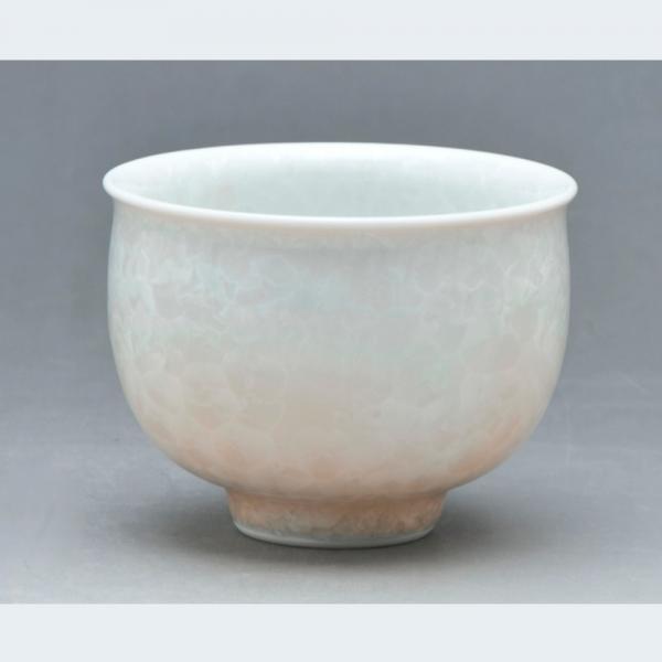 清水焼 花結晶(白地茶) お茶呑茶碗