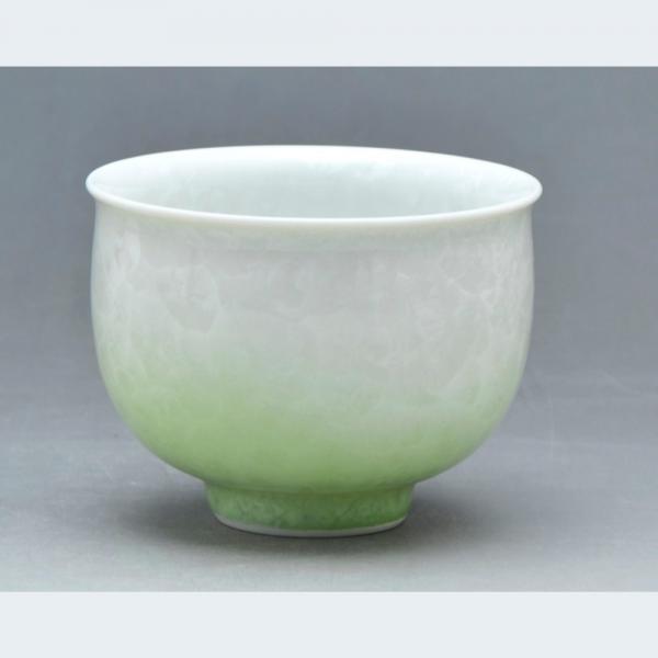 清水焼 花結晶(白地緑) お茶呑茶碗