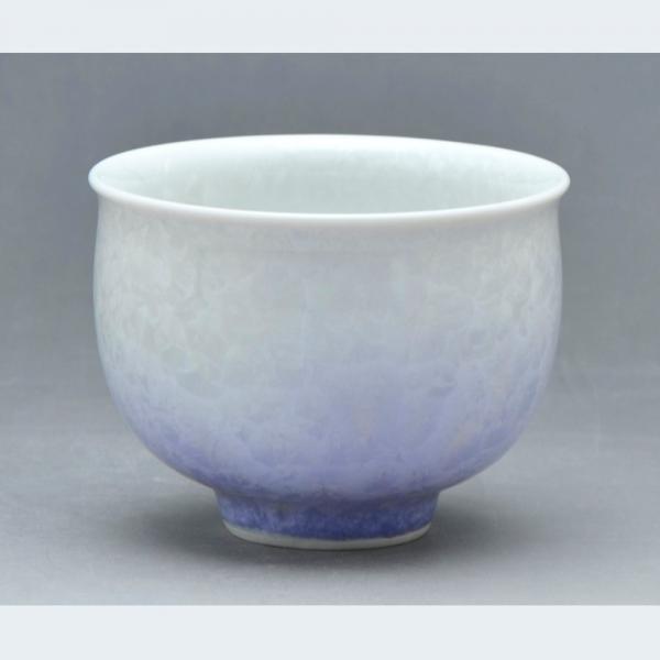 清水焼 花結晶(白地紫) お茶呑茶碗