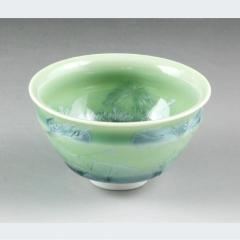 清水焼 花結晶(緑) ぐい呑